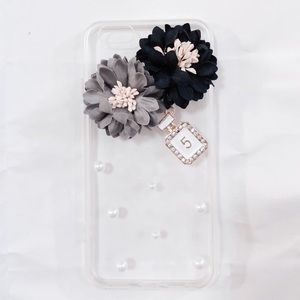 iPhone 6 Luxury Black Gray Floral Pearl Clear Case